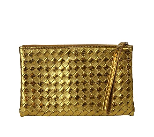 Bottega Veneta Woven Wristlet Gold Python/Leather Clutch Bag