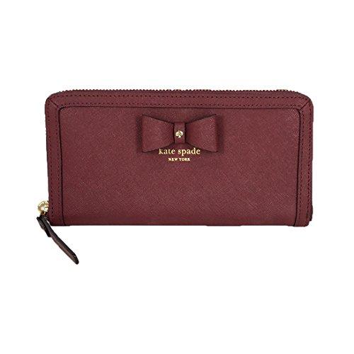 Kate Spade Hazel Court Bow Lacey Leather Zip Around Wallet, Merlot