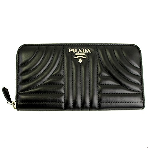 Prada Black Quilting Leather Long Wallet Nero Zip Around