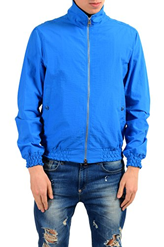 Versace Collection Men's Blue Full Zip Windbreaker Jacket