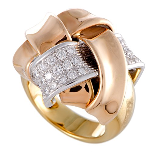 Damiani 18K Yellow White and Rose Gold Diamond Pave Knotted Cocktail Ring