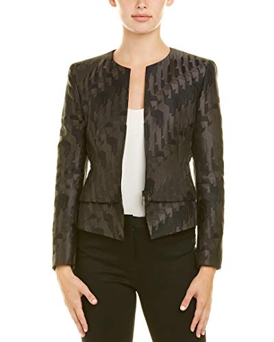 Akris Womens Silk-Lined Wool Jacket, 4, Black