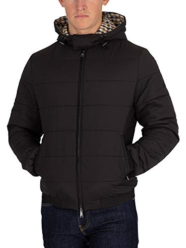 Aquascutum Men's Douglas Padded Blouson Jacket, Black, Large