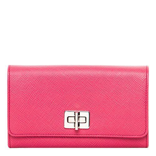 Prada Women's Saffiano Wallet with and Chain Strap Fuchsia