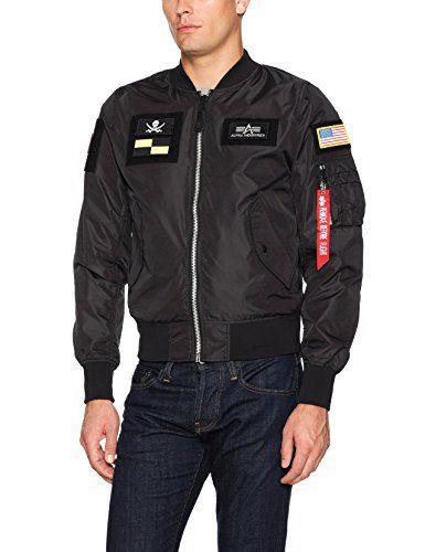 Alpha Industries Men's Flex Bomber Flight Jacket, Black, Medium