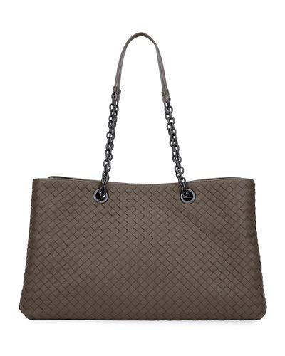 Bottega Veneta Intrecciato Double Chain Tote Bag Made in Italy