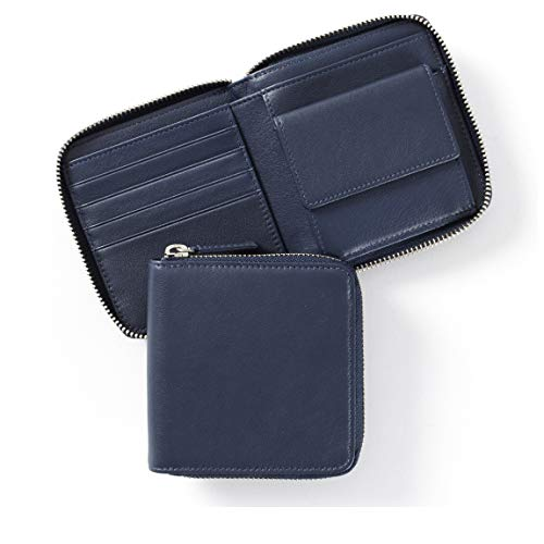 Small Zippered Wallet - Full Grain Leather - Navy (blue)