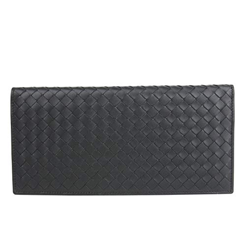 Bottega Veneta Unisex Intercciaco Woven Black Leather Long wallet