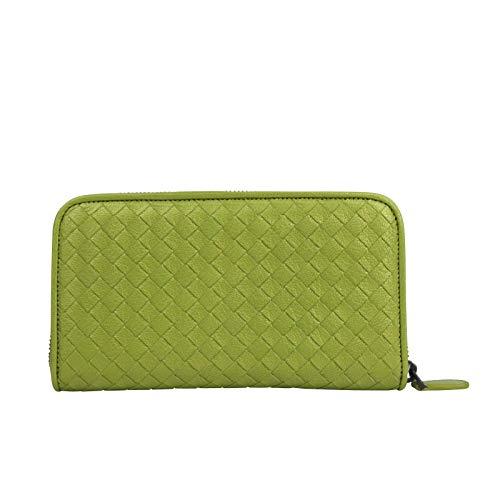 Bottega Veneta Women's Zip Around Metallic Green Leather Wallet