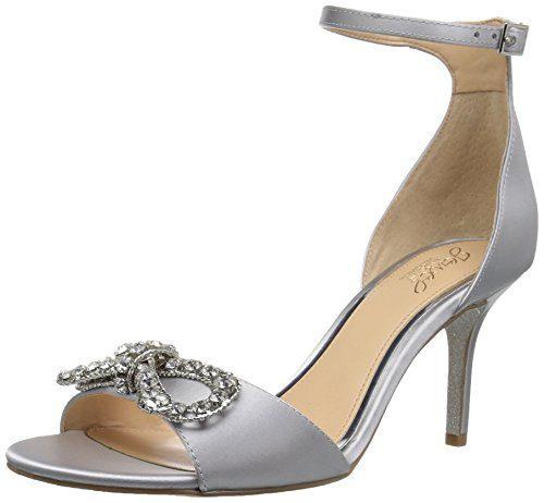Badgley Mischka Jewel Women's Miguela Heeled Sandal, Silver Satin