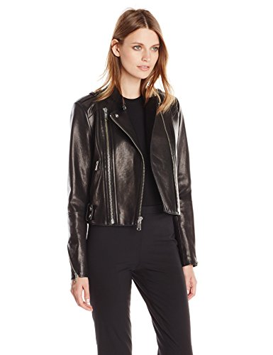 Andrew Marc Women's Leather Moto Jacket, Black, Medium