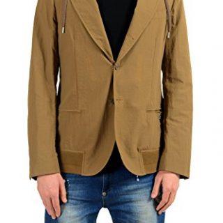 Versace Collection Men's Brown Three Button Hooded Blazer Sport Coat