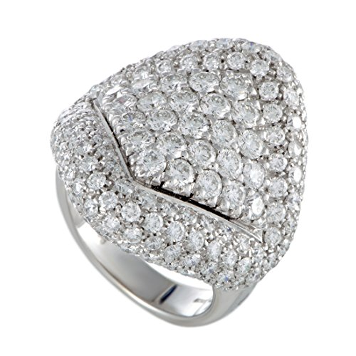 Damiani 18K White Gold Full Diamond Pave Large Cocktail Ring