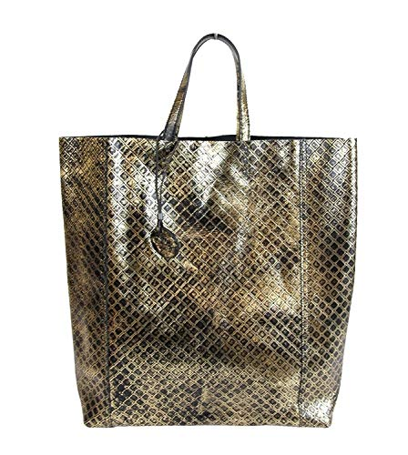 Bottega Veneta Women's Gold/Black Leather Intrecciomirage Tote Bag