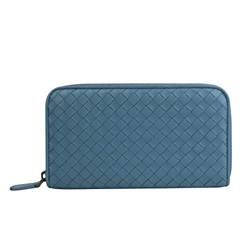 Bottega Veneta Women's Woven Zip Around Aqua Blue Leather Wallet