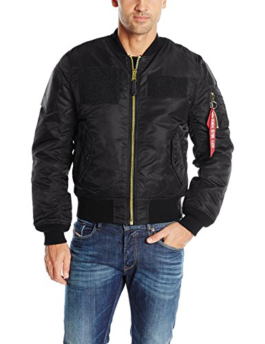 Alpha Industries Men's Slim Fit Flex Flight Bomber Jacket, Black, Small