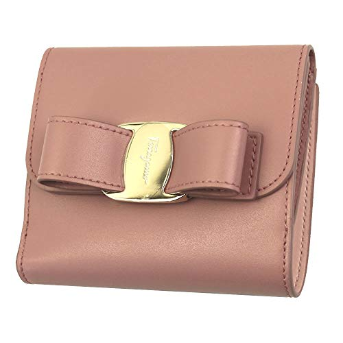 Salvatore Ferragamo Vara Pink Leather bifold Wallet Antique Rose
