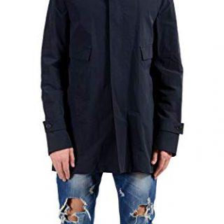 Versace Collection Men's Navy Blue Button Up Pea Coat