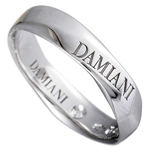 Damiani Wedding Bands 18K White Gold Internal Diamond Faceted Band Ring
