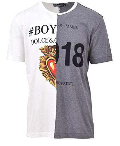 Dolce e Gabbana Men's White/Grey Cotton T-Shirt
