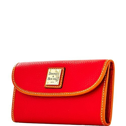 Dooney & Bourke Pebble Grain Continental Clutch Leather Red