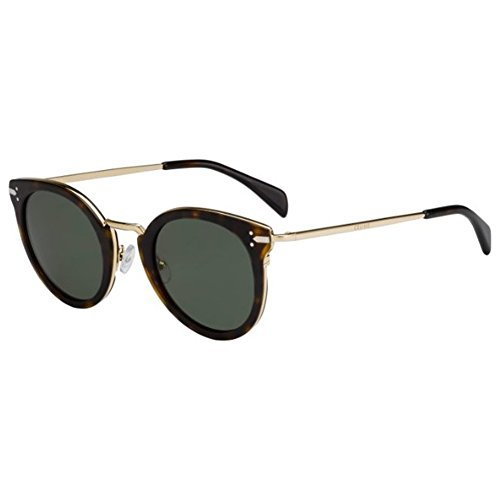 Celine Women's Dark Tortoise / Gold Frame/Grey / Green Lens Metal