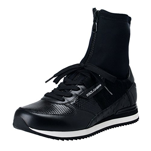 Dolce & Gabbana Men's Black Leather Pony Hair Sneakers Shoes