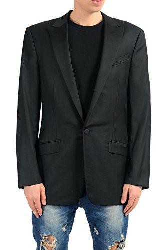 Versace Men's 100% Wool Black One Button Blazer Sport Coat