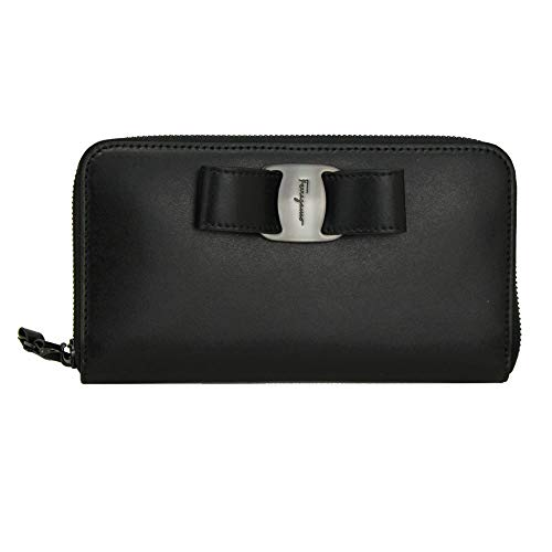 Salvatore Ferragamo Vara Black Leather Long Wallet Zip Around NeroNero