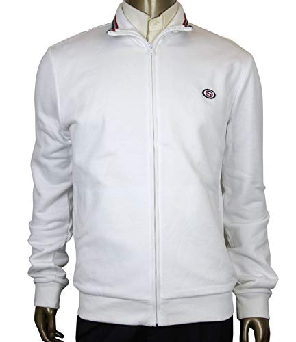 Gucci Interlocking G White Cotton Modal Felted Twill Zip Up Jacket