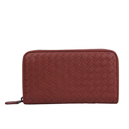 Bottega Veneta Women's Woven Zip Around Brick Red Leather Wallet