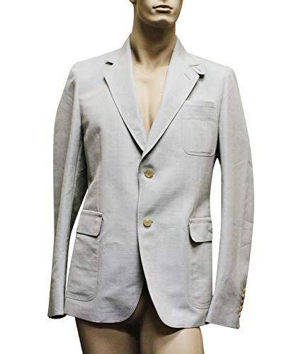 Gucci Men's Beige Blue Coat Jacket Blazer