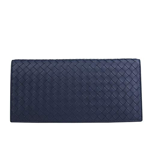 Bottega Veneta Unisex Woven Navy Blue Leather Large Clutch Wallet
