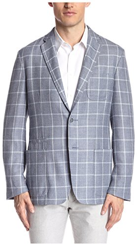Corneliani Men's Windowpane Sportcoat, Blue, 52 EU