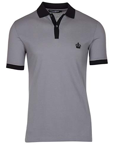 Dolce & Gabbana Men's Gray Crown 'Corona' Short Sleeve Contrast Polo Shirt