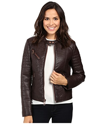 "Marc New York by Andrew Marc Women's Vivian 20"" Vintage Vegan Leather Jacket Burgundy Jacket"