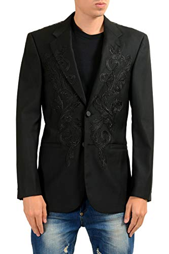 Versace Men's 100% Wool Black Designed Two Button Blazer Sport Coat