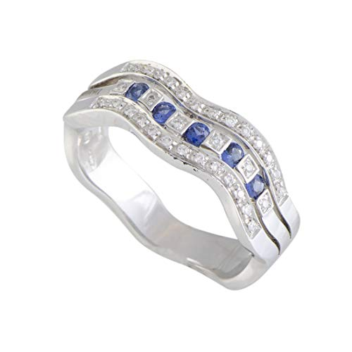 Damiani Belle Epoque 18K White Gold Diamond and Sapphire Waved Band Ring