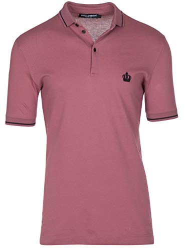 Dolce & Gabbana Men's Pink Crown 'Corona' Short Sleeve Polo Shirt