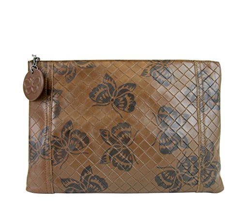 Bottega Veneta Intrecciomirage Brown Leather Butterfly Clutch Pouch Bag