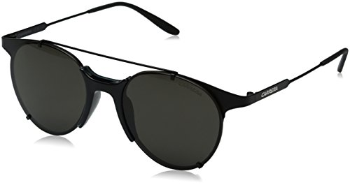 Carrera Men's Round Sunglasses, Matte Black/Brown Gray, 52 mm
