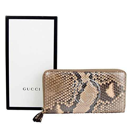 Gucci Interlocking G Brown Python Leather Snack Zip Around Wallet