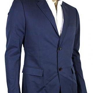 Gucci Horsebit Lining Blue Cotton Two Button Blazer Jacket
