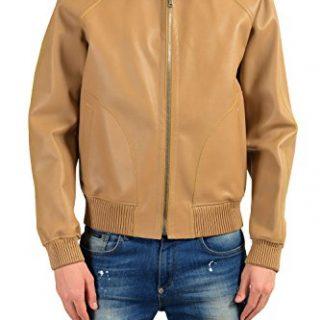 Gucci Men's 100% Leather Beige Full Zip Hooded Jacket