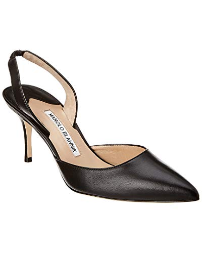 Manolo Blahnik Carolyne Leather Pump, 37.5, Black