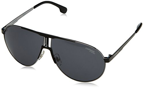 Carrera Men's Aviator Sunglasses, Ruthenium Matte Black/Gray Blue, 66 mm