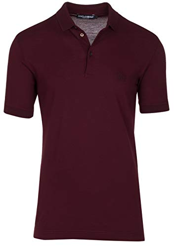 Dolce & Gabbana Men's Burgundy Crown 'Corona' Short Sleeve Polo Shirt