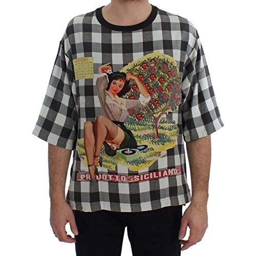 Dolce & Gabbana Crewneck PRODOTTO Siciliano Print Silk T-Shirt