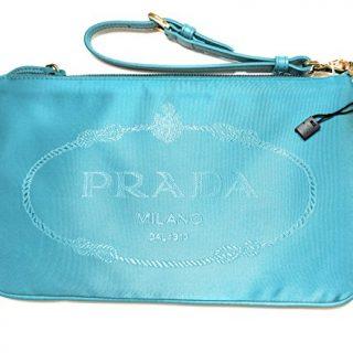 Prada Turquoise Nylon Jacquard Designer Wristlet Handbag for Women