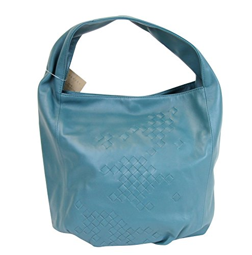 Bottega Veneta Hobo Blue Leather Bag With Woven Detail